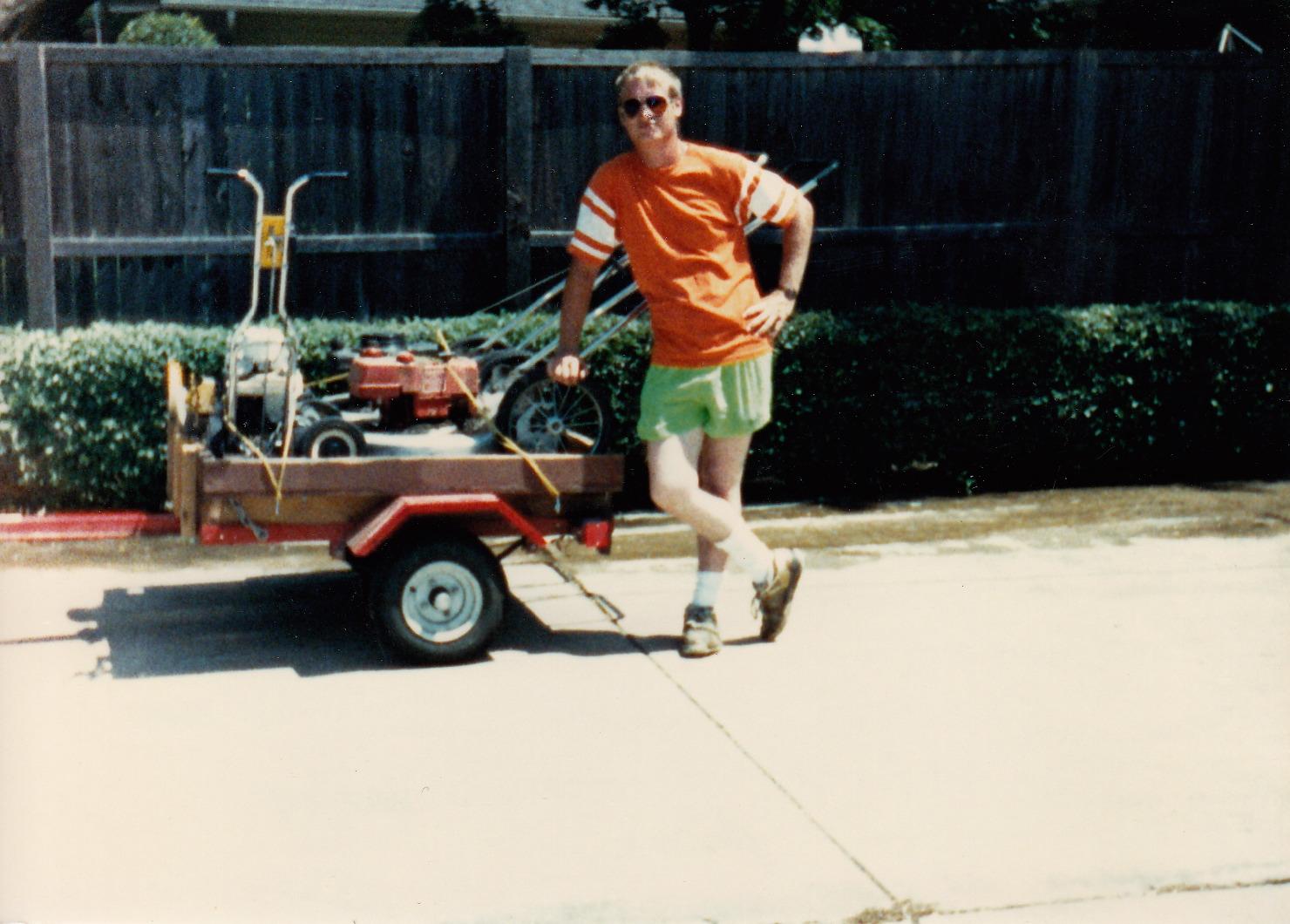 Jeffs lawn care trailer squeezed words for Garden maintenance trailer